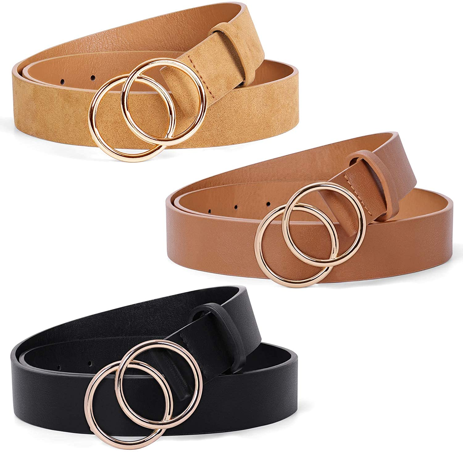 3 Pack Double Ring Belt for Women, Faux Leather Jeans Belts with Golden Circle Buckle