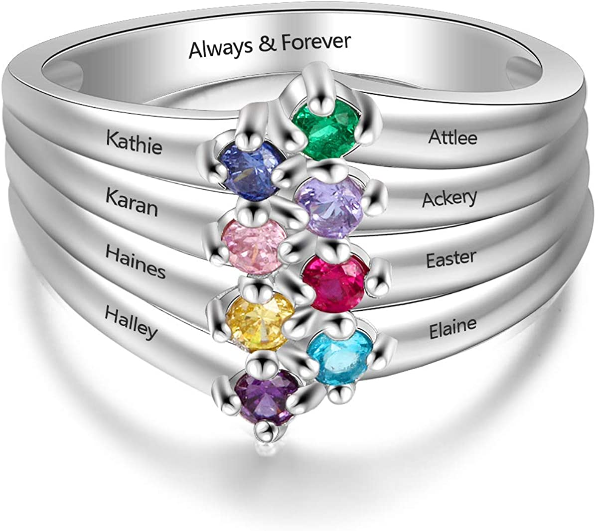 Personalized Mothers Ring with 8 Round Simulated Birthstones Family Promise Rings for Women Custom Grandma Jewelry