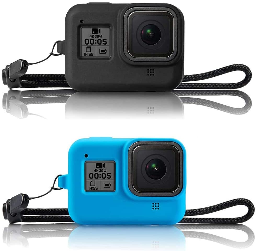 VARIPOWDER Silicone Protective Case for GoPro Hero 8 Black,Soft Frame Cover Case Protection with Lanyard for GoPro Hero 8 Black Accessories-Black and Blue