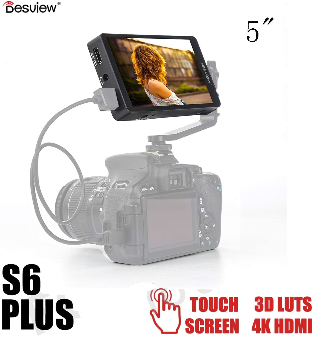 Destview S6 Plus Monitor 5.5 Inch Full Touch Screen 3D LUT Field Monitor 4K HDMI FHD 1080P On DSLR Camera