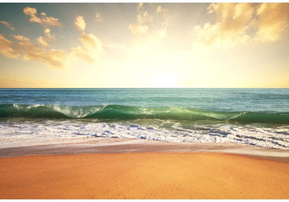 Leowefowa 10x8ft Vinyl Photography Background Beach Themed Backdrop Tropical Sea Yellow Sandy Beach Sunrise Sunset Landscape Background for Party Decoration Video Studio Photography Backdrop Props