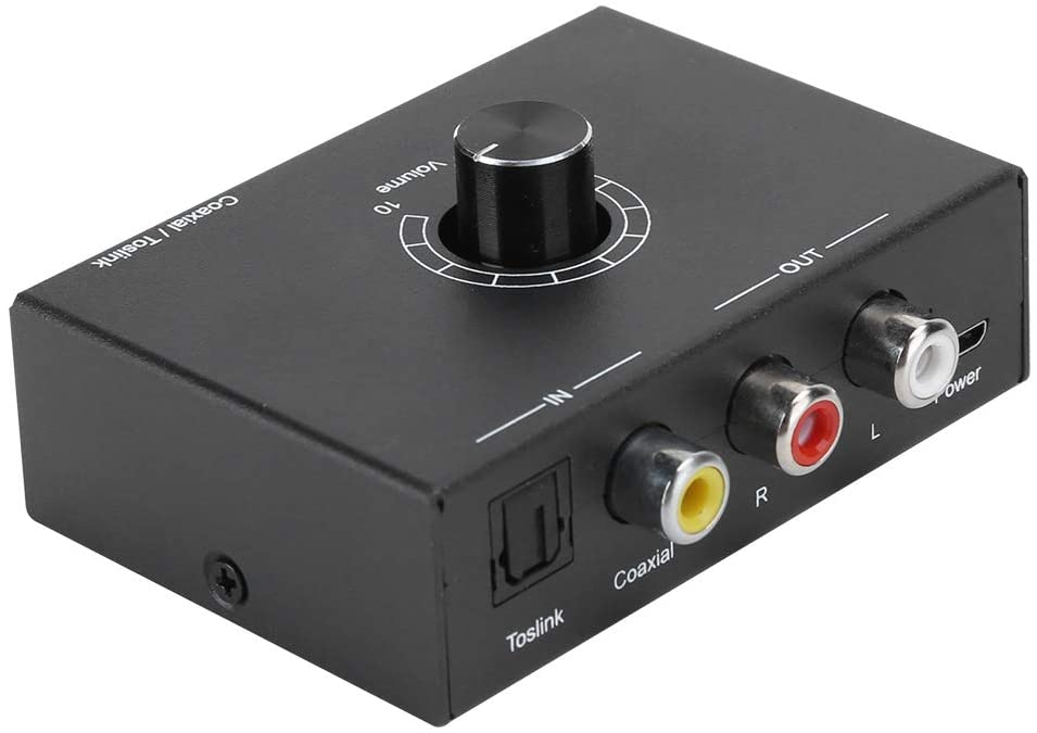 S erounder Digital to Analog Audio Converter, DAC Digital SPDIF Optical Coaxial to Analog L/R RCA Adapter Toslink Optical to 3.5mm AUX Jack Adapter with Headphone Amplifier