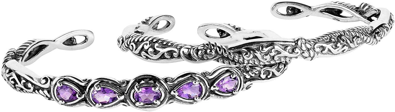 Carolyn Pollack Sterling Silver Purple Amethyst Gemstone & Silver Filigree Cuff Bracelet Set - Size Small
