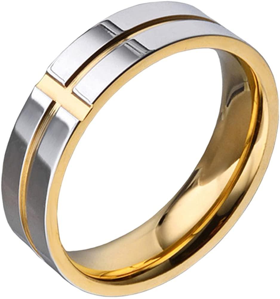 SINLEO Men's 6mm Titanium Classic Wedding Rings Christian Grooved Cross Line Engagement Band, Blue/Gold