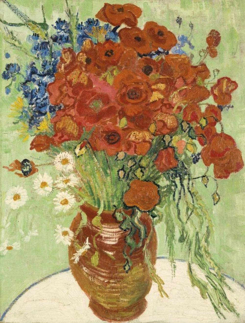 Still Life Red Poppies Daisies by Van Gogh's Oil Painting DIY Paint by Numbers Famous Artwork Abstract Canvas Paint by Kits Adults Beginner(with shed Inner Frame) 15.75 x 19.69 inches