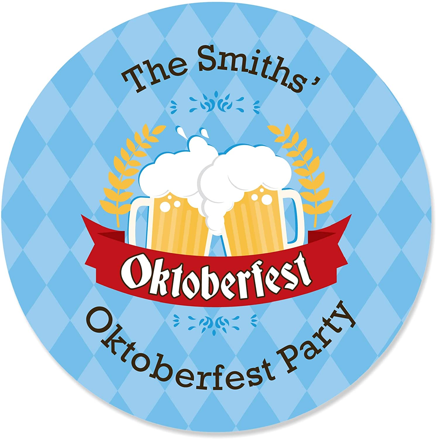 Big Dot of Happiness Personalized Oktoberfest - Custom German Beer Festival Circle Sticker Labels - 24 Count