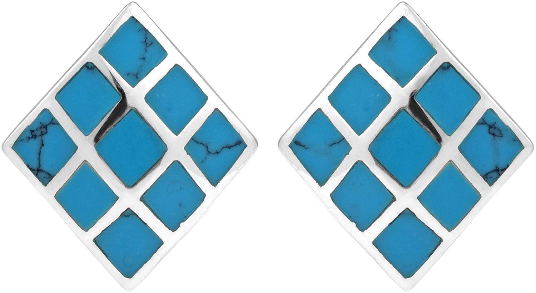 Inlay Dyed Blue Howlite Rhombus Shape Block .925 Sterling Silver Post Earrings