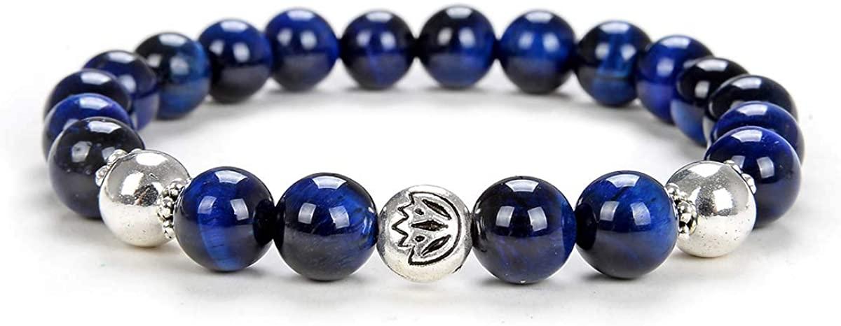 Self-Discovery 8mm Prayer Lotus Charm Bead Yoga Jewelry Handmade Stretchy Mala Energy Bracelet