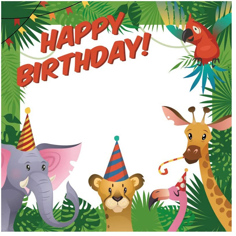 DORCEV 10x10ft Cartoon Jungle Forest Backdrop for Jungle Safari Theme Birthday Party Photography Background Cute Giraffe Animals Birthday Party Decor Cake Table Banner Photo Studio Props