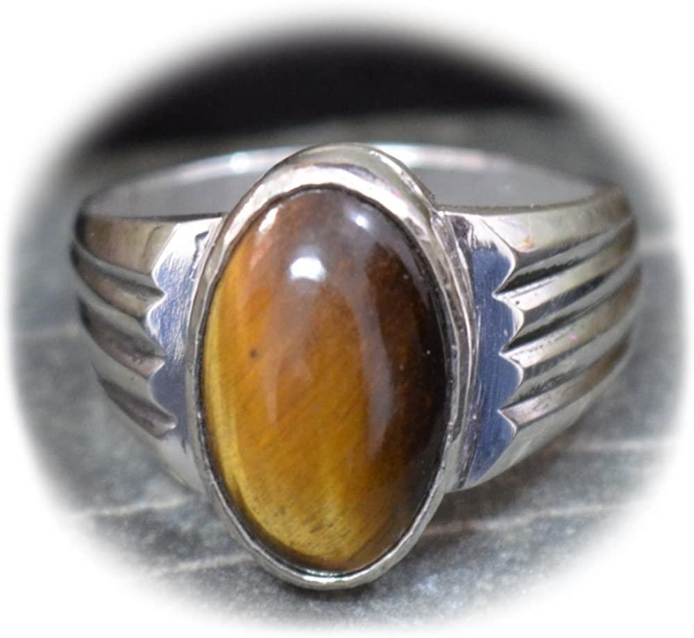 55Carat Natural Tiger Eye Silver Ring for Men 3 Carat Oval Astrological Size 4,5,6,7,8,9,10,11,12,13