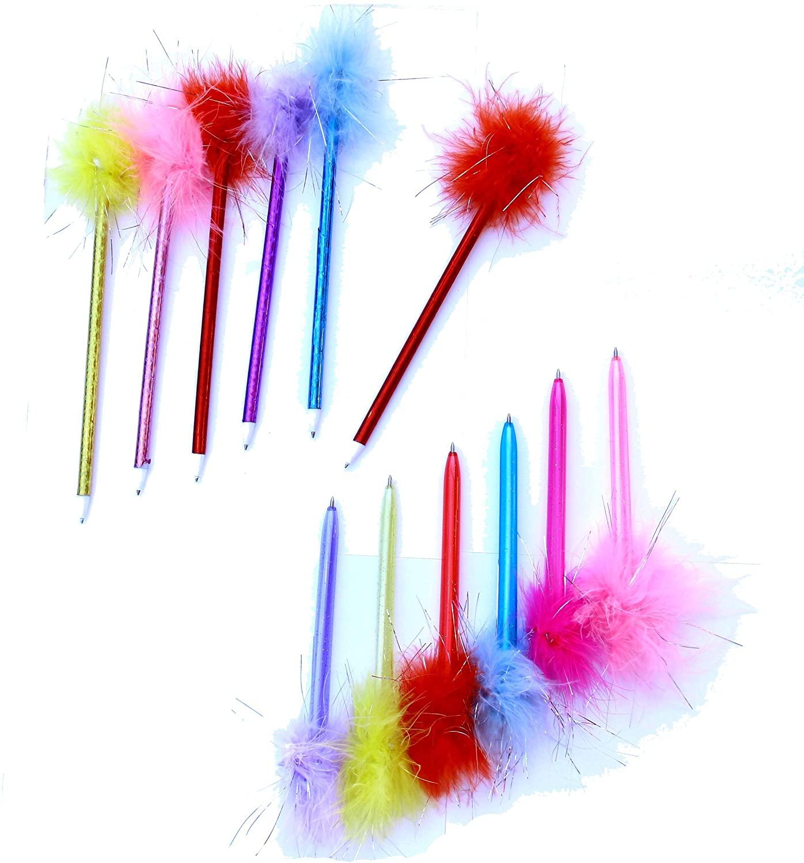 Dazzling Toys Marabou Feather Pens - 1 Dozen, Assorted Colors