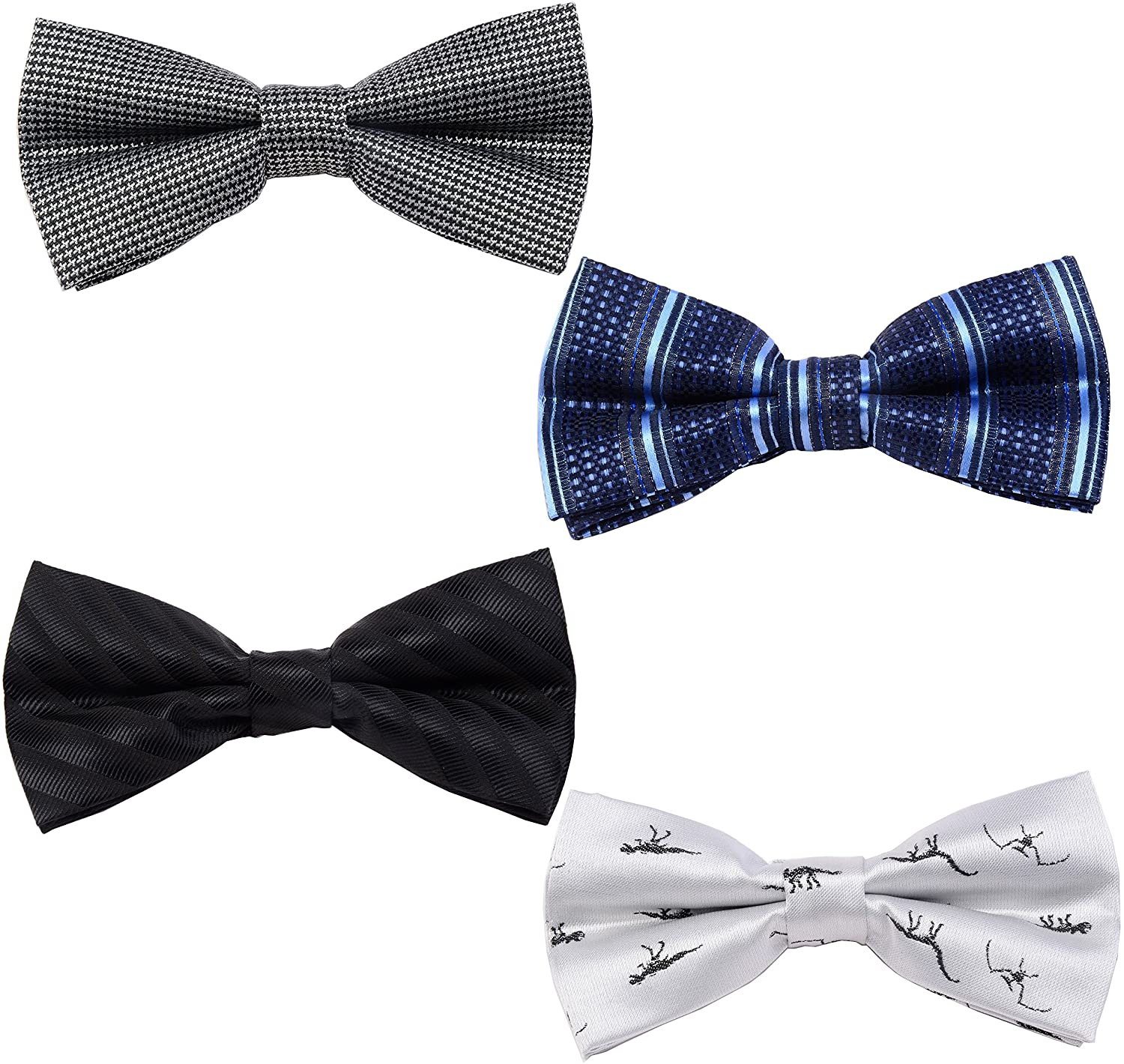 GUSLESON Men's Bow Ties 4 Packs Adjustable Pre-tied bowties for Man