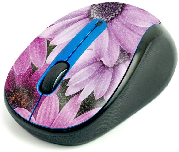 MightySkins Glossy Glitter Skin for Logitech M325 Wireless Mouse - Purple Flowers | Protective, Durable High-Gloss Glitter Finish | Easy to Apply, Remove, and Change Styles | Made in The USA