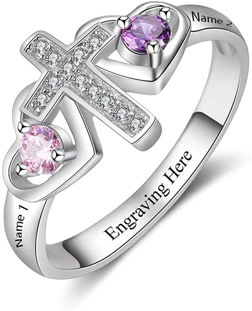 UCADRIT 925 Sterling Silver Personalized Spiral Twist Engraved Names Ring for Women Girlfriend Custom Twist Rings Jewelry