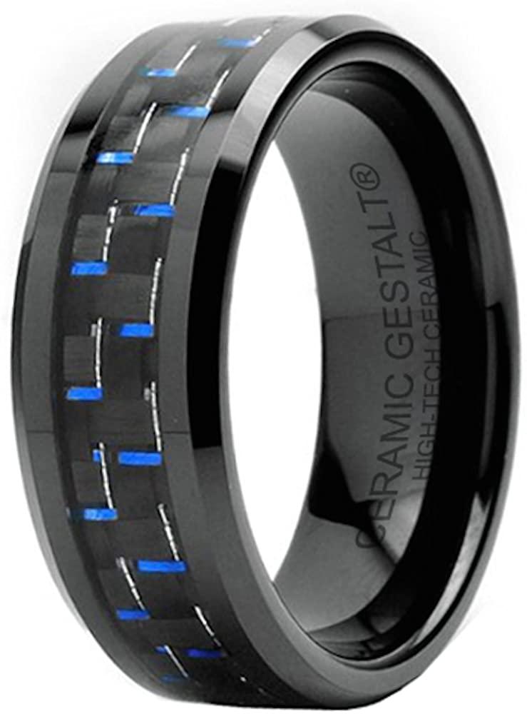 GESTALT COUTURE Black Ceramic Ring. Black & Blue Carbon Fiber Inlay. 8mm Width. Comfort Fit.