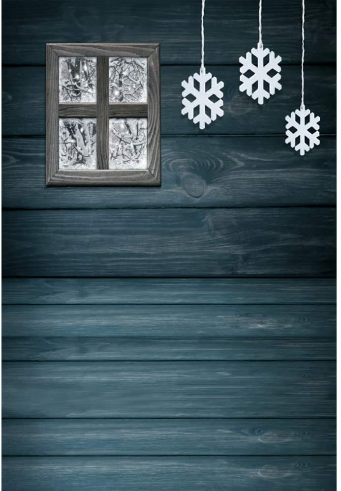 Leyiyi 3x5ft Vinyl Photography Background Christmas Winter Backdrop Gloomy Vintage Wooden Wall Hanging Paper Snowflakes Wooden Frozen Window Christmas Family Party Backdrop