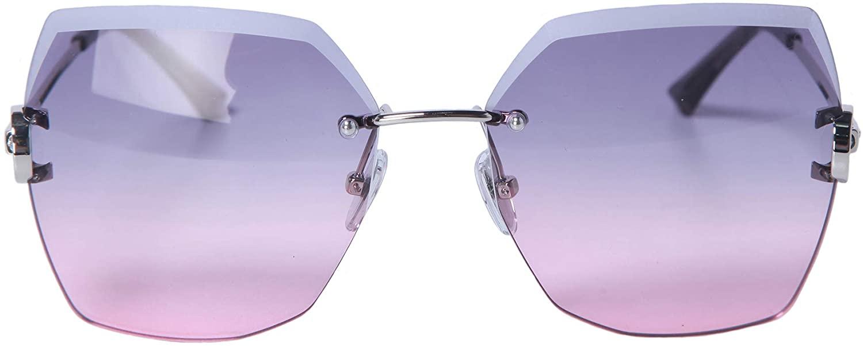 AYALULU Ultra Large Rimless Polygonal Lenses for Female Polarized Gradient Sunglasses