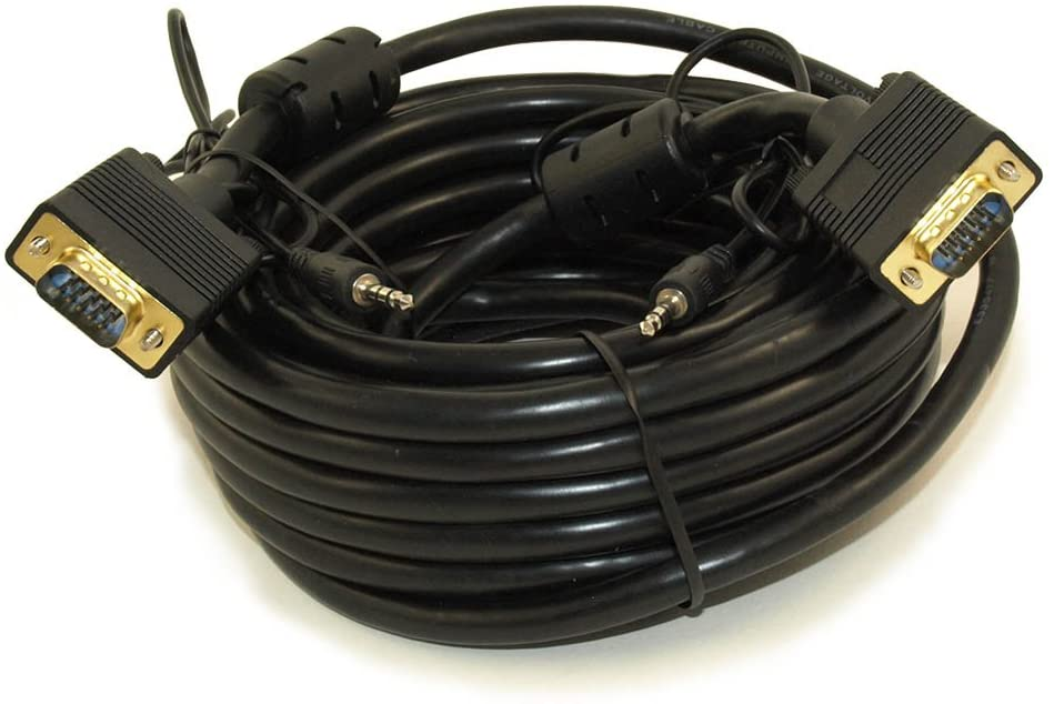 MyCableMart 35ft Premium Tri-Shield VGA & 3.5mm Stereo TRS Audio M/M Combo Cable