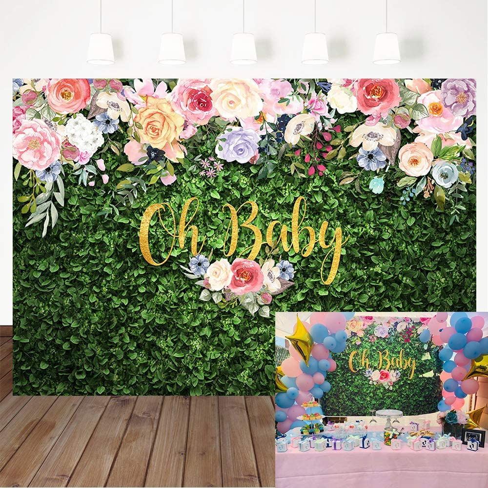 Avezano Oh Baby Grass Baby Shower Backdrop 7x5ft Vinyl Green Leaves Flower Baby Shower Photography Background Grass Floral Baby Shower Cake Table Decoration Banner Photo Booth Props