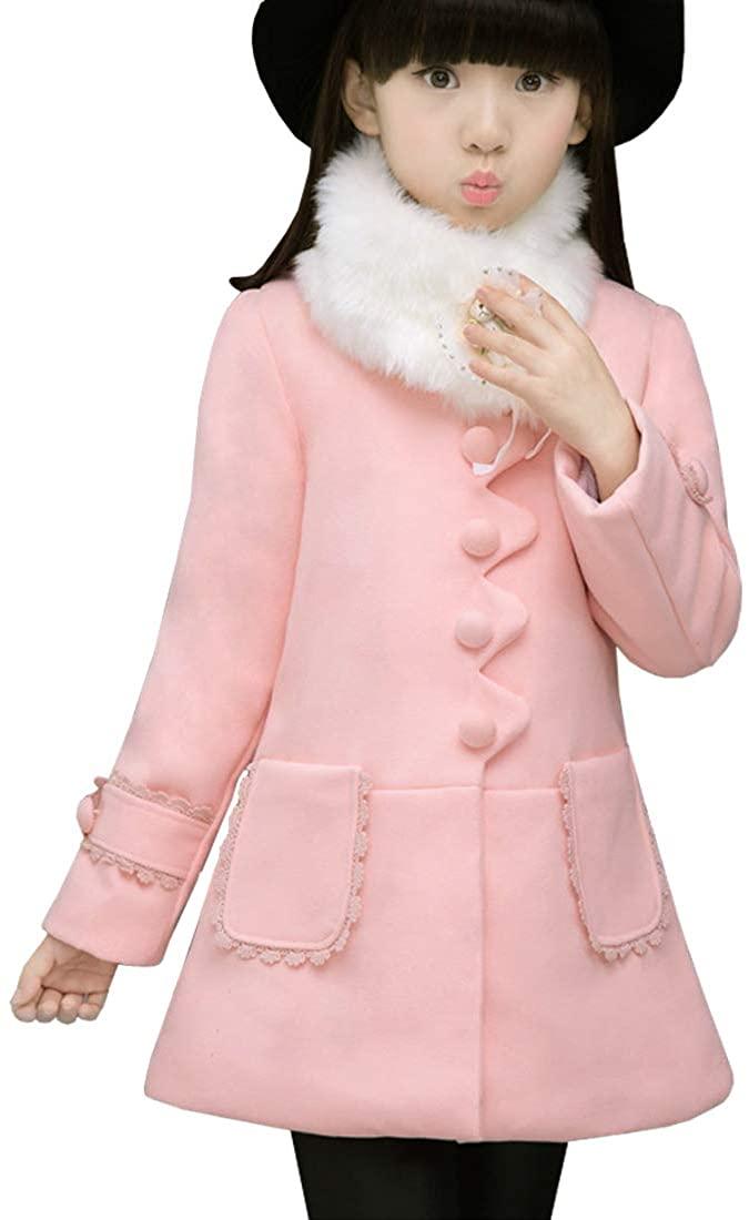 AnKoee Big Girls Princess Outwear with Faux Fur Girl Winter Coat Jacket