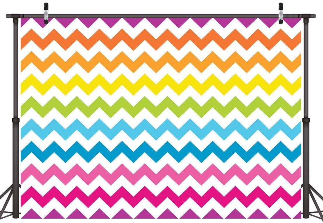 LYWYGG 7x5FT Rainbow Waves Backdrop Cartoon Rainbow Waves Line Baby Girl Birthday Party Photography Backdrop Newborn Kids Show Cake Tablecloth Decor Photo Studio Props CP-216