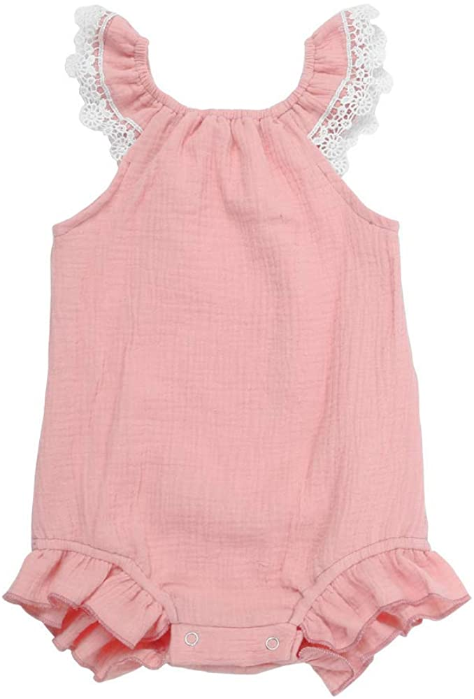 Babyrangutan Girls Ruffle Romper Onsie with Lace (More Color and Size Options)