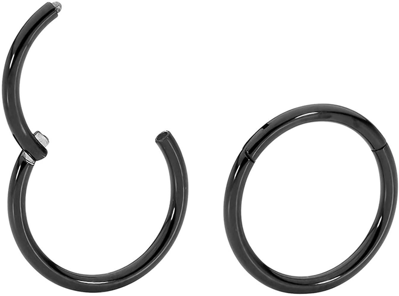365 Sleepers 1 Pair Stainless Steel 18G (Thin) Hinged Segment Ring Hoop Sleeper Earrings Body Piercing 5mm / 6mm / 7mm / 8mm / 9mm / 10mm / 11mm / 12mm / 13mm