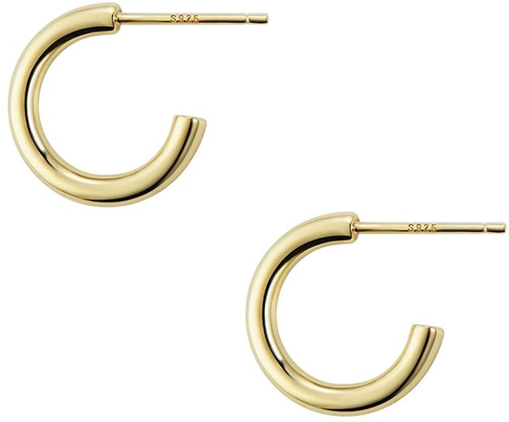 Small Huggie Hoop Earrings Sterling Silver Post 14k Gold Plated Lightweight Earrings, 0.59 Inch