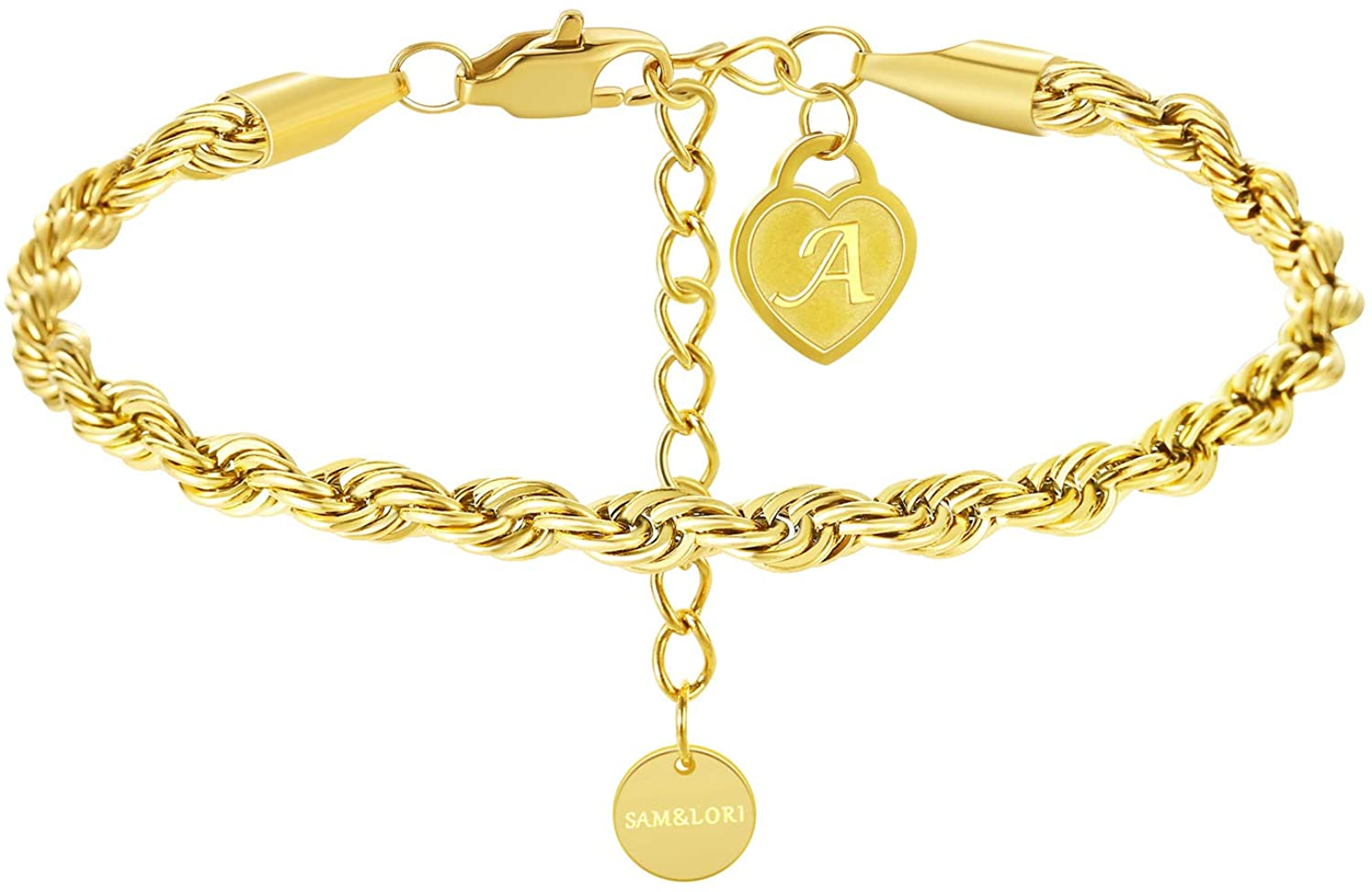 SAM & LORI Twist Rope Chain Initial Bracelet in 18K Gold Plated Cuban Chain Alphabet Charm Bracelet Dainty Layering Stacking Link Cable Monogram Bracelet Bangle Jewelry for Women Her Teen Girls Kids