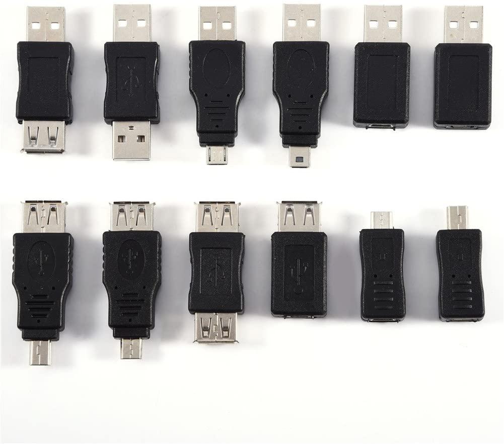Pomya USB Adapter Kit, 12 Pcs Multiple USB2.0 Adapters Micro/Mini Male Female Converters Connectors Mini Changer Adapters