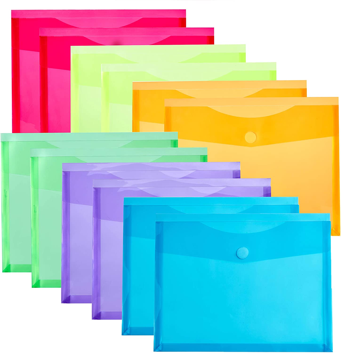 FANWU 12 Pack Assorted Color Plastic Envelopes with Hook & Loop Closure - 1-1/6