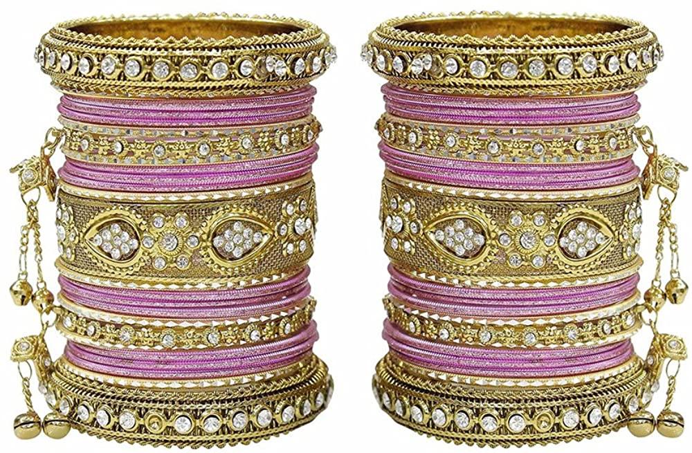 MUCH-MORE Latkan & Punjabi Style Metal Colourful Bangles for Karva Chauth & Wedding Wear for Women & Girls