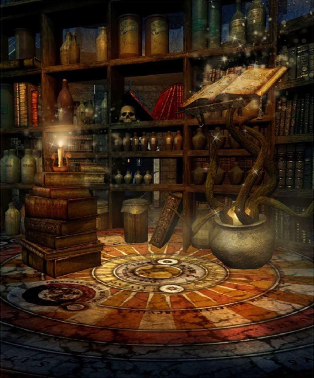 Laeacco 8x10FT Vinyl Backdrop Photography Fantasy Room Magic Book Potions Candles Enchanted House Skulls Wizard Scene Children Adults Portraits Backdrop Photo Studio Prop Halloween Horror Night