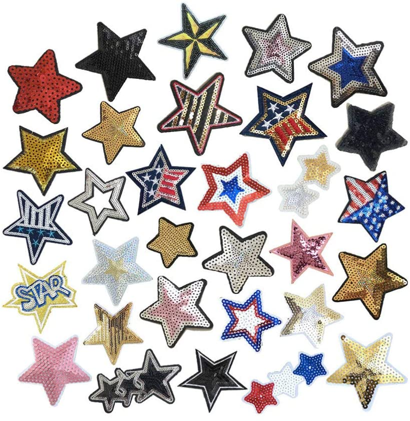 SUPVOX 31Pcs Jeans Patch Sticker Sequins Star Sticker Sew On Applique for DIY T-Shirt Sweater Hoodie Transfer Paper