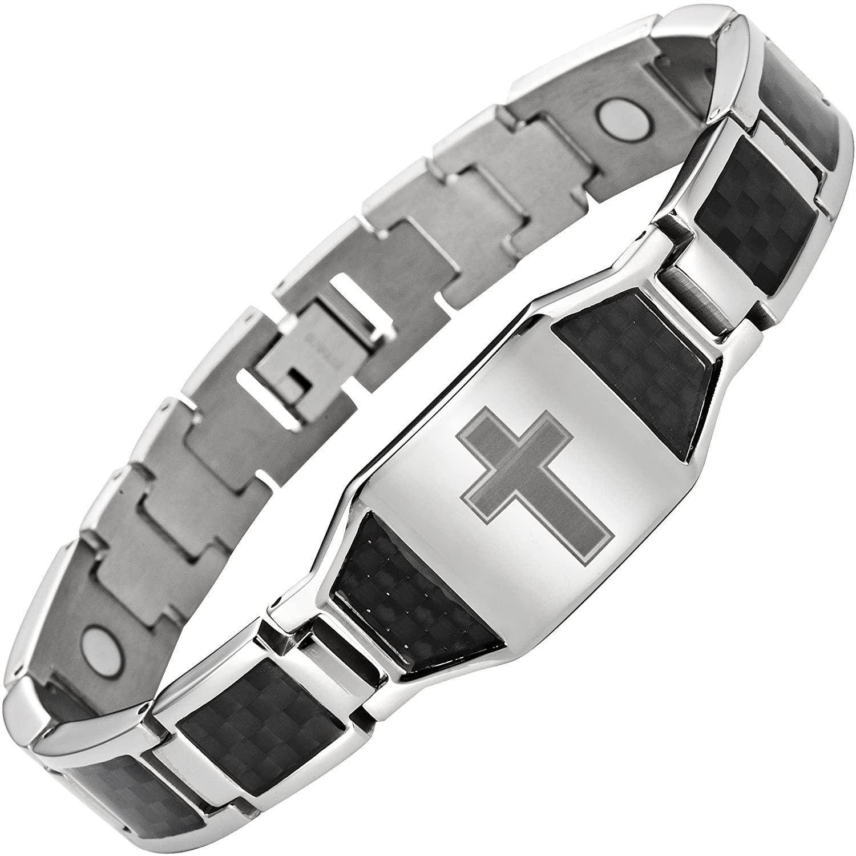 Willis Judd Men's Titanium Magnetic Christian Cross Bracelet with Black Carbon Fiber Insets Adjustable