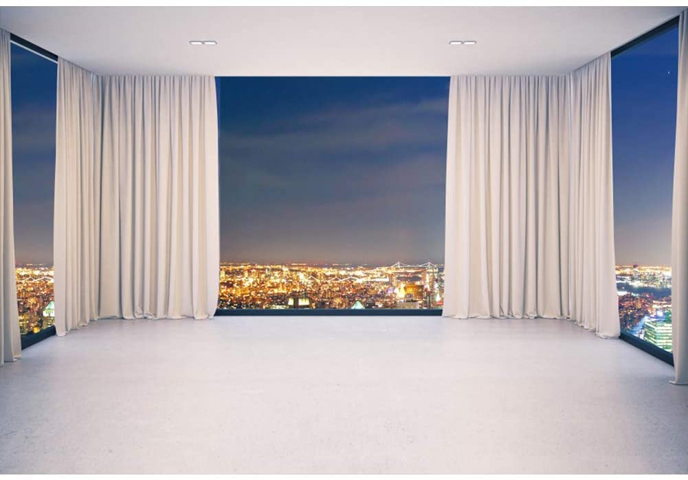 DORCEV 6x4ft French Window Overlook City Night View Photography Backdrop Skyscraper Business Office French Window White Curtain Background Home Decoration Wallpaper Portraits Photo Studio Props