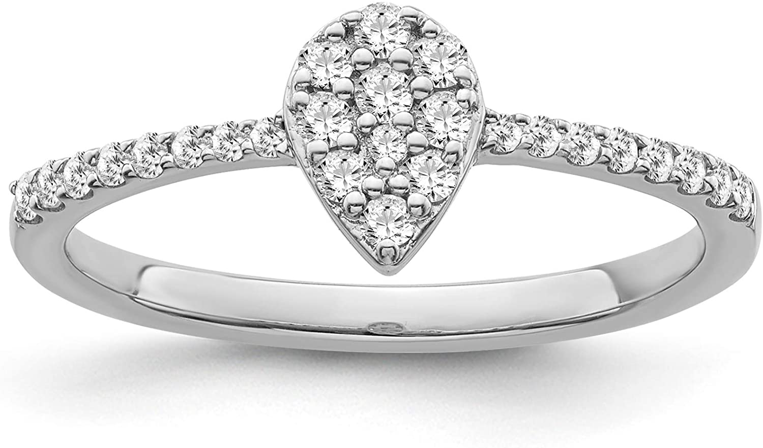925 Sterling Silver 1/5 CTW Diamond Pear Shape Engagement Ring for Women