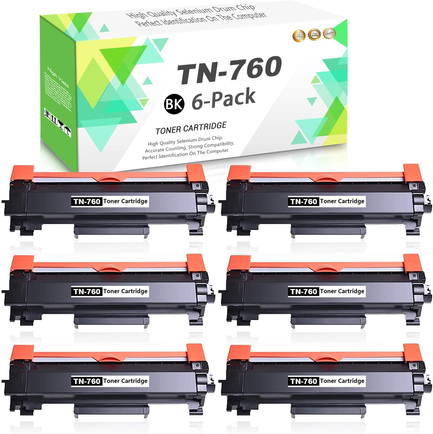 Compatible TN-760 Toner Cartridge High Yield (Black,6-Pack) Replacement for Brother MFC-L2750DWXL MFC-L2750DW MFC-L2710DW DCP-L2550DW HL-L2370DW/DWXL HL-L2395DW Series Printer,Sold by TmallToner.