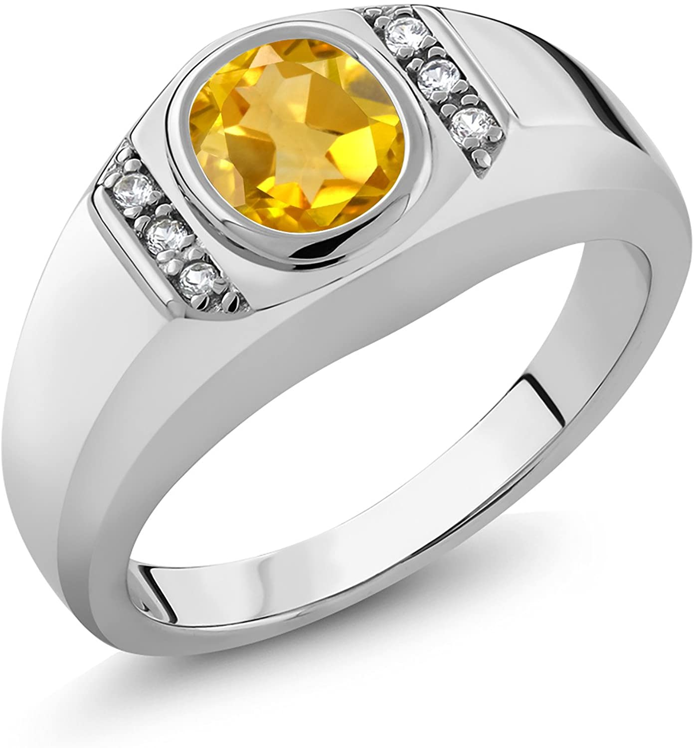 Gem Stone King Men's 925 Sterling Silver Oval Yellow Citrine and White Created Sapphire Ring (1.16 Cttw, Available 7,8,9,10,11,12,13)
