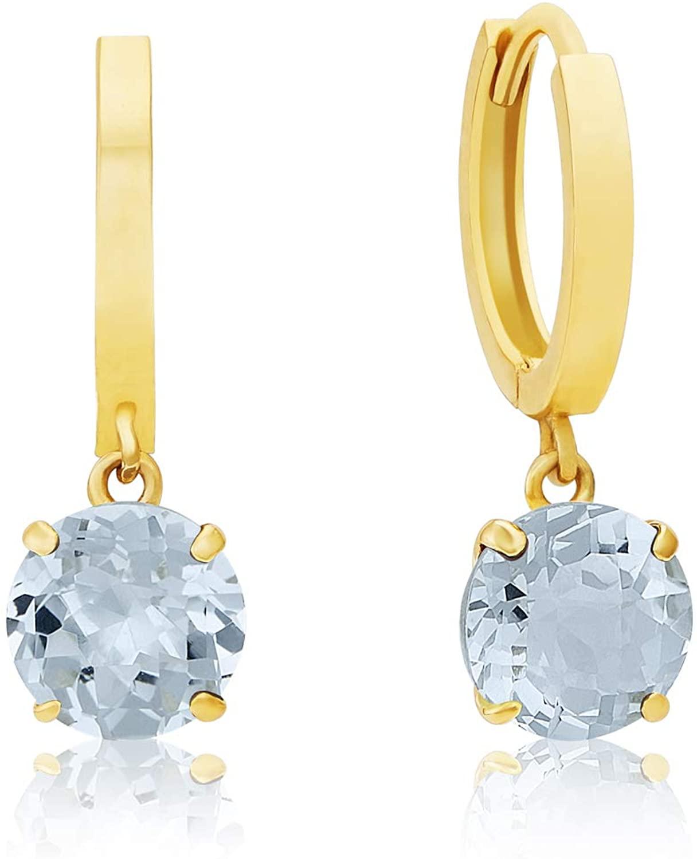 Solid 10K Yellow or White Gold Dangle Huggie Hoop Gemstone Earrings (6mm)