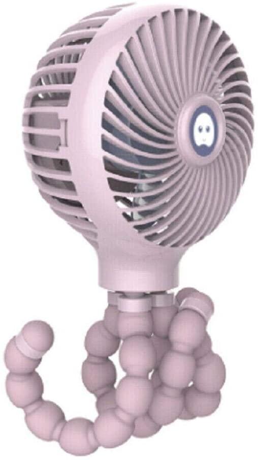 Stroller Fan Clip On, Mini USB Charge Desk Fan Portable Handheld Fan Stroller Fan w/Flexible Tripod,Pink