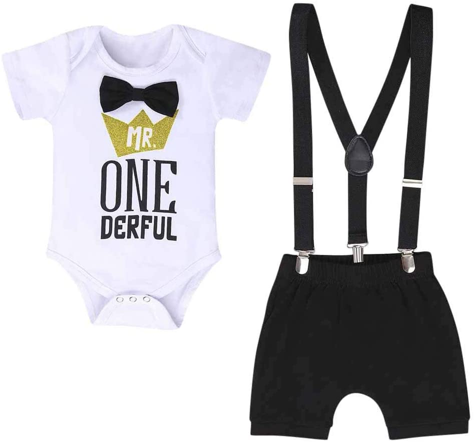 Boys Outfits&Set, Newborn Infant Baby Boys Letter Gentleman Birthday Romper Straps Shorts Outfits, Clothes for Boys and Girls