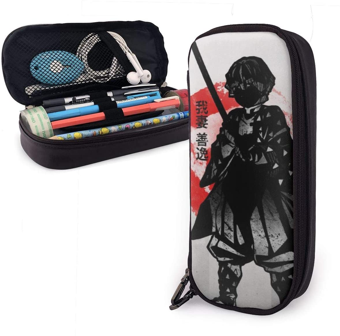 Demon Slayer Big Capacity Pencil Case, Children Pen Marker Holder Pouch Box, Women Makeup Bag, Stationery Organizer with Zipper for Boys Girls School Office