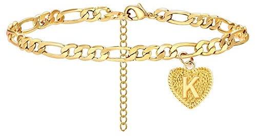 choice of all Gold Anklets for Women Heart Initial Anklet Cuban Link Letter Ankle Bracelet for Girls