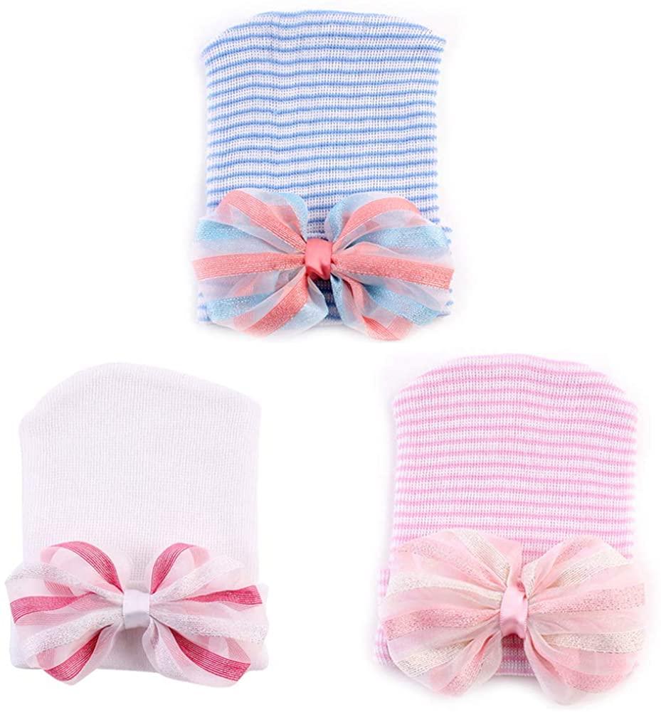 Aablexema Newborn Beanie Hat - Infant Baby Soft Cute Hospital Nursery Caps for 0-3 Months