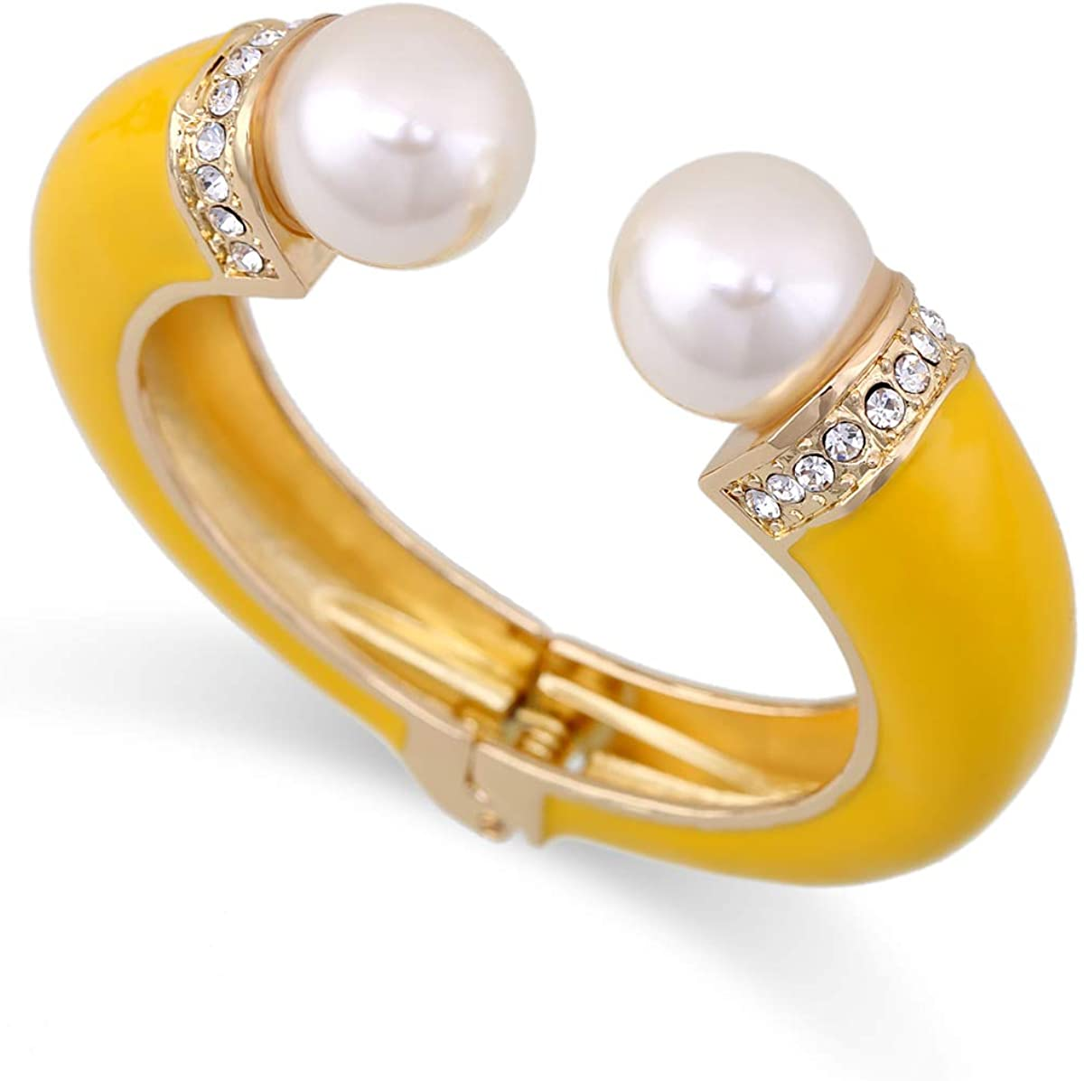 Women Double Pearls Cuff Bracelet Gold Plating and Enamel Statement Bangle Cuffs Jewelry 6 Colors