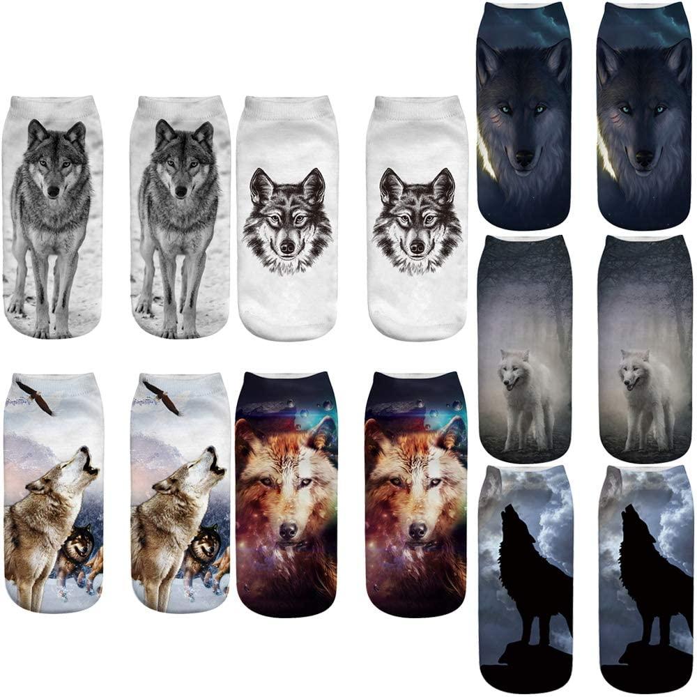 Angelteers 3D Wolf Ankle Socks Funny Animal Graphic Summer Short Socks for Boys