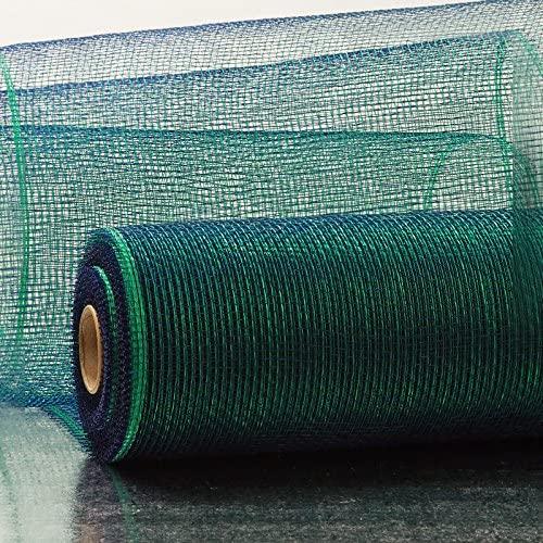 10 X 10 Yards Emerald/Navy Deco Mesh