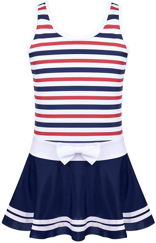 JanJean Kids Big Girls' One Piece Stripes Swimsuit Swim Dress Athletic Beach Pleated Skirt Swimwear Bathing Suit