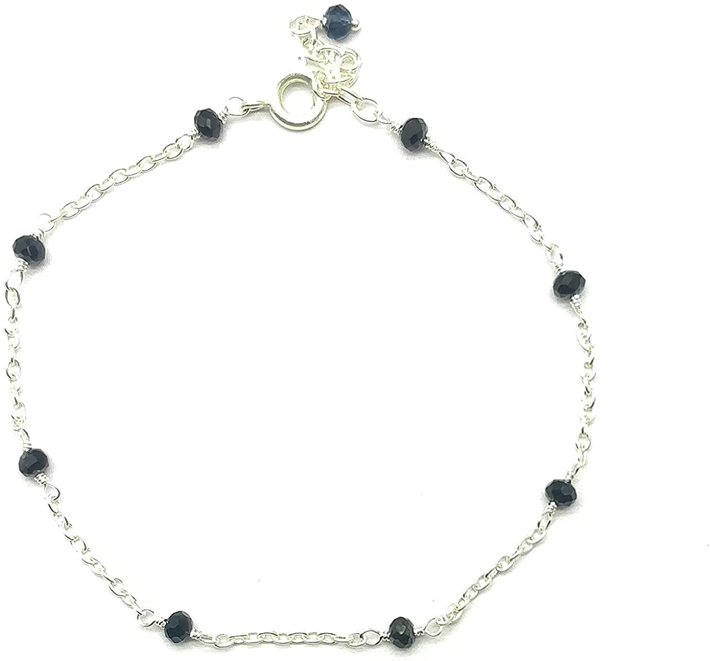 Natural Black Spinel Silver plated, 3mm Rondelle Faceted 7 inch Adjustable bracelet beaded bar bracelet jewelry for GF & Wife, Mother gift